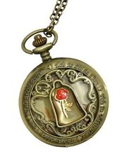 Disney Beauty & The Beast Rose Dome Burnished Gold Pocket Watch Necklace NWT!