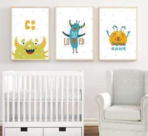 Details About Baby Boy Nursery Prints Set Of 3 Cute Monsters Wall Art Pictures Kids Room Decor