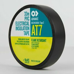 10 x ADVANCE AT7 Black PVC Electrical Insulating Insulation Tape 20 x 19 - EPT7