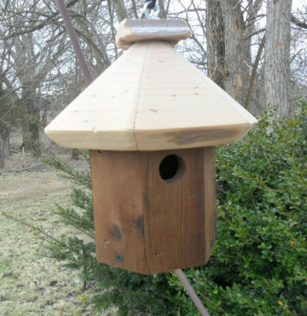 Natural Wood Birdhouse * Hanging Wren Bird House * Outdoor Country Birdhouses