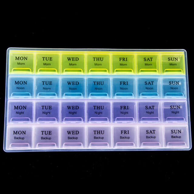 7 Day Weekly 28 Compartments Pill Box Organizer Tablet Storage Container SP