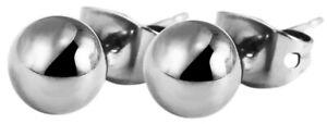 Titan-runder-Ohrstecker-Damen-Herren-Silber-Ohrringe-Ohrschmuck-Allergiker-Kugel