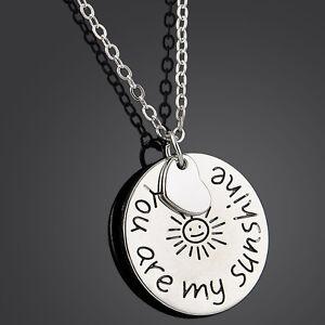 Silver-Tone-YOU-ARE-MY-SUNSHINE-Romantic-Love-Words-Pendant-Necklace-Chain