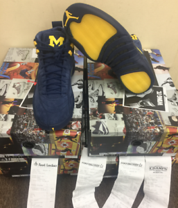 9b63d447bdcc Nike Air Jordan 12 Retro Michigan PE College Navy Amarillo BQ3180 ...