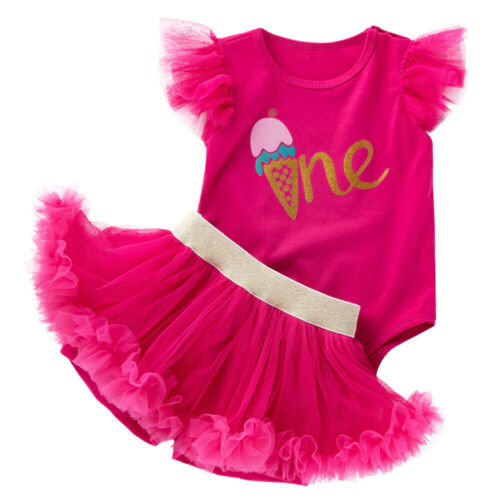 2PCS Infant Baby Girls 1st Birthday Party Outfits Clothes Romper Tutu Skirt Sets