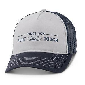 001e3ec2702 Built Ford Tough Since 1978 Gray Dark Blue Mesh Trucker Hat ...