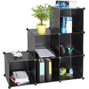Estanteria-de-plastico-modular-comoda-cuadrados-ropero-organizador-bano-negro