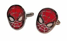 Marvel's SPIDERMAN Face Silvertone/Enamel CUFFLINKS