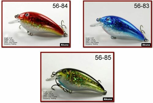 "Pack of 3 Akuna Fat Boy 3.2/"" Shallow Diving Crankbait Bass Trout Fishing Lures"