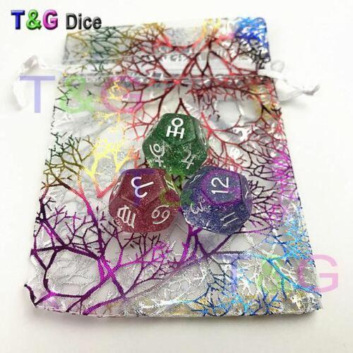 6 Colors 22*22mm Dice Wit 3pcs//set,Divine Dice Acrylic Dice 12 Sides Tarot Dice