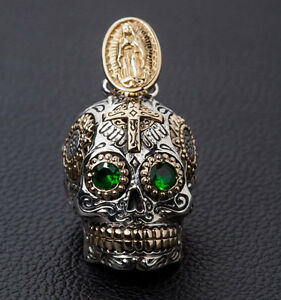 Sugar skull 925 sterling silver mens pendant new for chain necklace image is loading sugar skull 925 sterling silver mens pendant new aloadofball Image collections