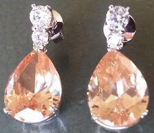 Large honey pear topaz 24k white gold gf dangle drop earrings BOXED Plum UK