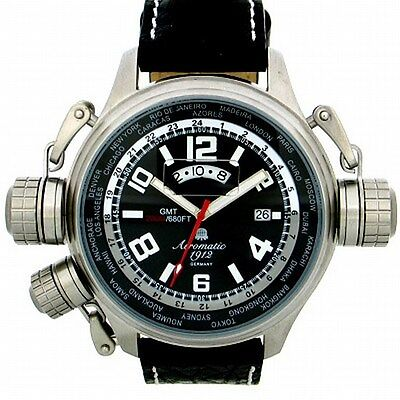 German XXL SWISS-GMT-movement-Worldtour 3 protecting crowns system black A1298