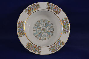 Andrea Dresser Trinket Dish Jewelry Vanity White Blue Gold Accent  #Z