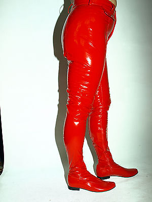 """BLACK OR RED PATENT LACK HIGH BOOTS  SIZE 5-16 HEEL-5,5"""" POLAND - FS1177"""