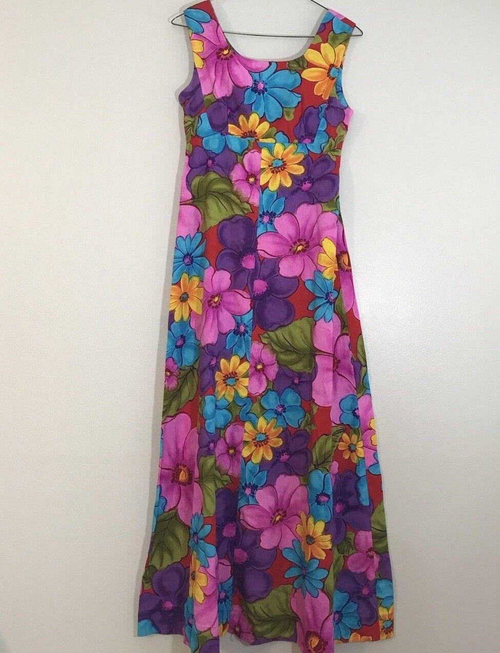 Vintage Ui-Maikai Maxi Hawaiian Robe Floral Barkcloth FFaibleers