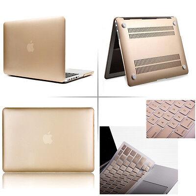 "Gold Matte Rubberized case keyboard cover Macbook Pro Air Retina 11 13 15""inch"