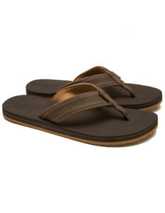 1d1a002b34f RIP CURL MENS FLIP FLOPS.NEW P-LOW FAUX LEATHER BROWN THONGS SANDALS ...