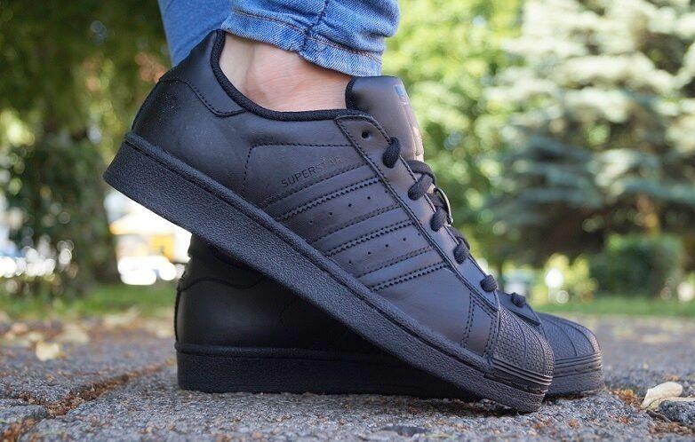 Zapatos promocionales para hombres y mujeres Nuevo Zapatos Adidas Superstar Foundation ZAPATILLAS DEPORTIVAS MUJER negro