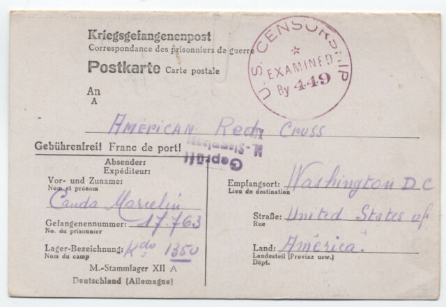1942 Germany POW folded card to American Red Cross [y1710]
