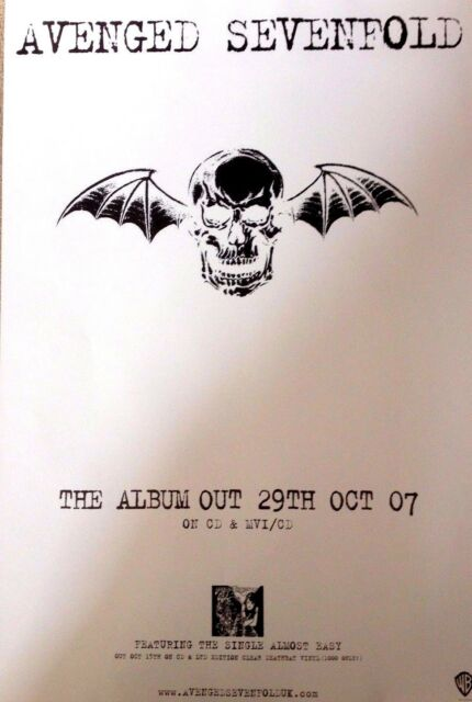Avenged Sevenfold - Rare Original Promo Poster - 20x28 Inches