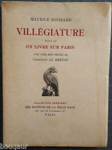 """Paul LEAUTAUD sous Pseudo Maurice BOISSARD Villégiature - Un livre sur Paris E.O - France - Commentaires du vendeur : """"Voir la description dans la fiche"""" - France"""