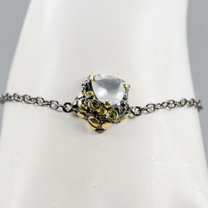 Aquamarine Bracelet 925 Sterling Silver Handmade Inches 7.5/BR04185