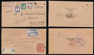 PAKISTAN 1952-53 REGISTERED AIRMAIL HANDSTAMPS to HOLLAND + USA...GRINDLAYS ENVS