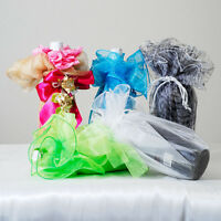 27 Circle Glitter Organza Wine Bottle Vase Wrap Bag Gift Box & Tassel Tie 24 Pc