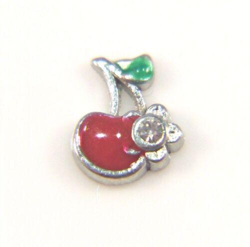 Floating Charms Mini Charm Living Memory Locket Red Enamel Cherry Crystal 8mm