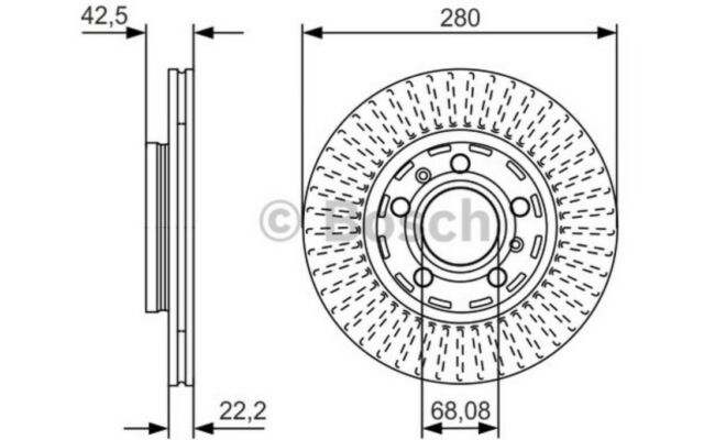 1x BOSCH Disco de Freno Trasero Ventilado 280mm Para AUDI A8 0 986 479 C89