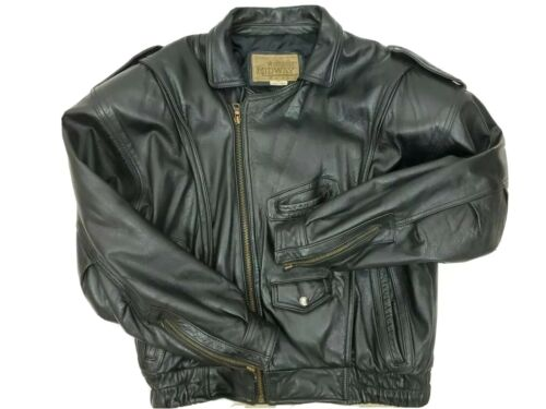 Men Midway Size 38 Black Leather Bomber Motorcycle