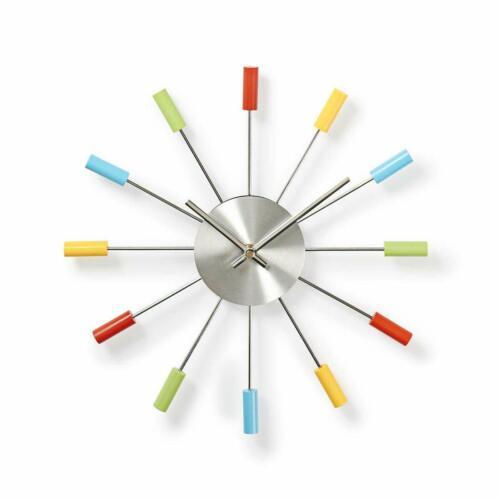 Wall Clocks 34cm Diameter Colourful Fun Wall Clock Metal Arms Twelve Coloured Wooden Tips Home Furniture Diy Quatrok Com Br