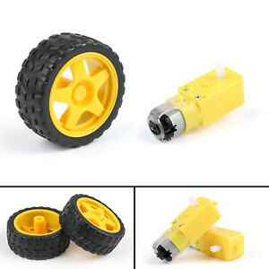 4Set-Smart-Car-Robot-Plastic-Tire-Tyre-Wheel-DC-3-6V-Gear-Motor-For-B6