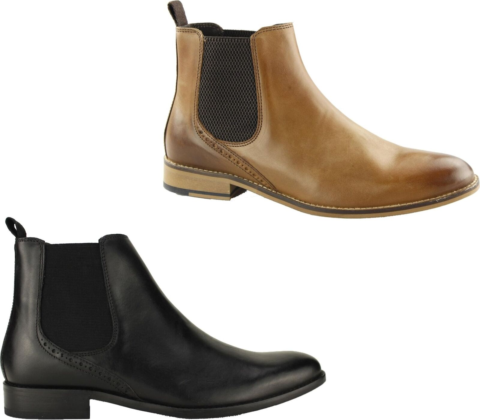 Ikon JERRY Mens Leather Casual Pull On Dual Gusset Plain Toe Chelsea Stiefel