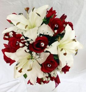 Image Is Loading Bridesmaids Wedding Bouquet Real Touch Ivory Lillies Silk