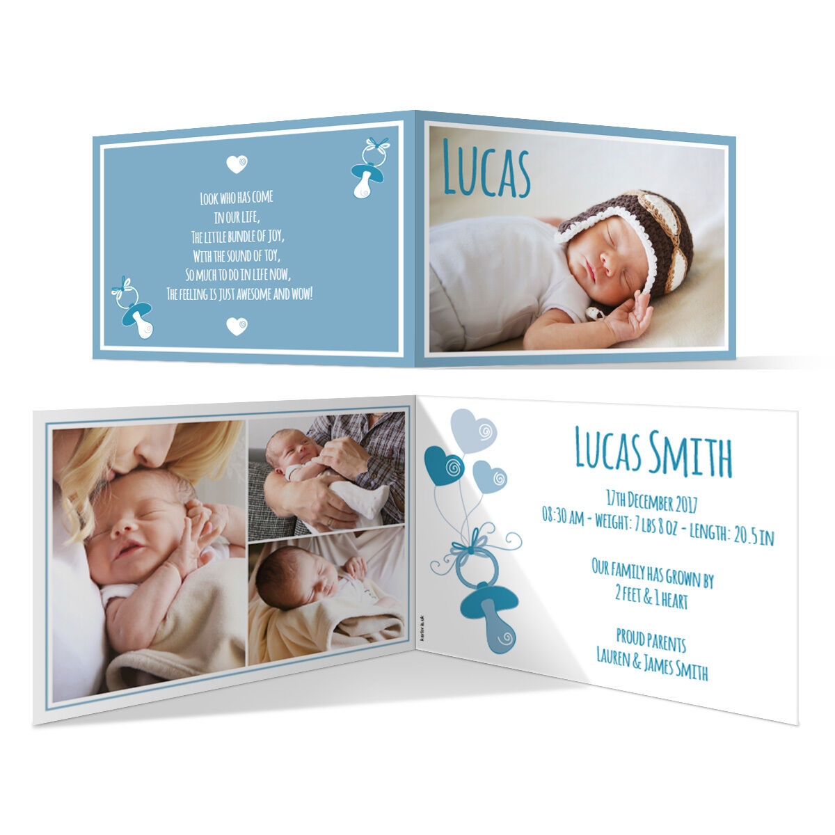 New Baby Cards Birth Announcements - Dummy Blau Personalised A6 Fold