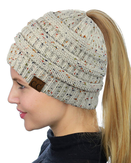 Oatmeal Confetti CC Beanietail Ponytail Messy High Bun Knit C.c ... a2100306a67