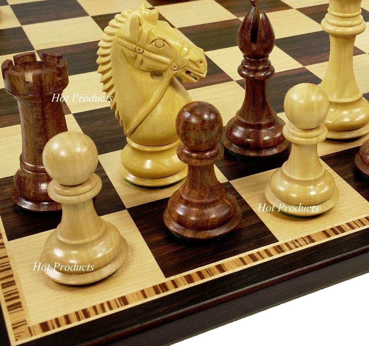 4  Wood Staunton BRIDLED Knight Chess Set Ebony & Maple Board 17