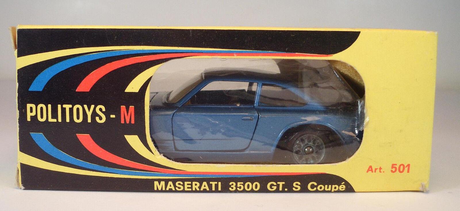 Politoys 1 43 no 501 Maserati 3500 GT bleu METALLIC  Sedan 332 800 OVP  052  authentique
