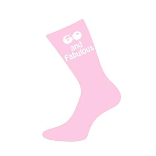 60 and Fabulous Printed Design Ladies Pink Socks 60th Birthday Gift