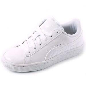 6701e676c4c12 PUMA CLASSIC PATENT VERNIS BLANC Baskets Enfants Filles Sneakers ...