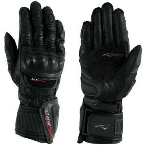 Gant-Piste-Racing-Sport-Protections-Technique-Professionnel-Cuir-Moto-A-pro-Noir