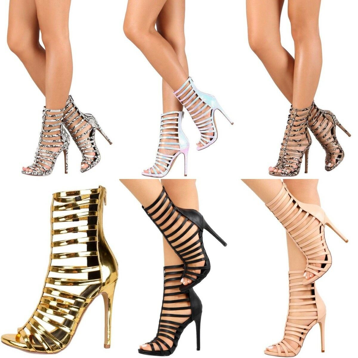 Caged Lace Up Strappy Stiletto High Exotic Heels Gladiator Sandals Booties H218