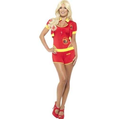Women/'s License Deluxe 1990/'s Baywatch Lifeguard Fancy Dress Costume Hen Theme