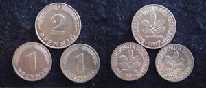 SUPERBE LOT de 1 & 2 PFENNIG 1987...Année TRES RARE...(Paypal possible) - France - Région: Europe Année de frappe: 1987 Pays: Allemagne - France