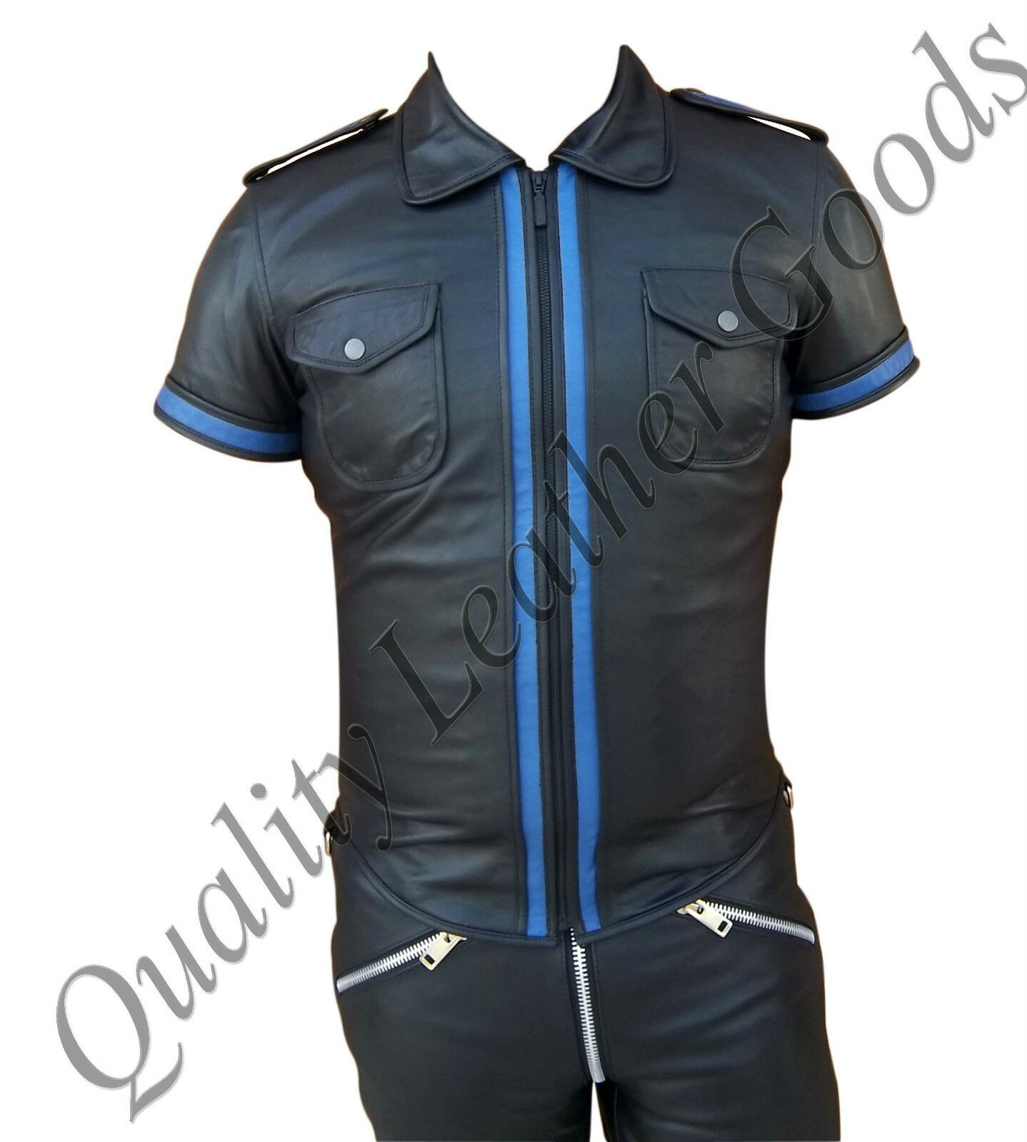 100% GENUINE LEATHER MILITARY POLICE UNIFORM SHIRT FRONT ZIP CONTRAST NEW blueF