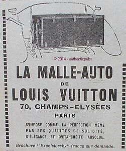 publicite louis vuitton la malle auto bagagerie de luxe de 1924 french ad pub ebay. Black Bedroom Furniture Sets. Home Design Ideas