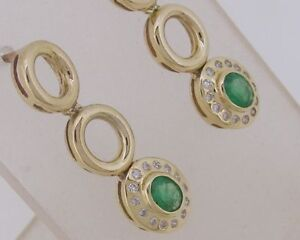 E103-Genuine-9ct-Gold-NATURAL-Emerald-amp-DIAMOND-Drop-Stud-Earrings-Journey