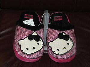 HELLO KITTY GIRLS PINK SEQUIN SLIPPERS SIZE KIDS MEDIUM SZ 2/3